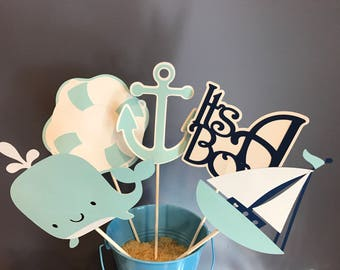 Five Piece Nautical Baby Boy Centerpiece