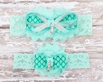 Mermaid Garter Set | Seafoam Green Bridal Garter and Toss Garter