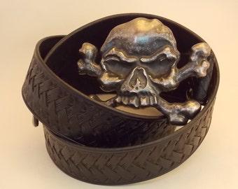 """Heavy duty leather belt """"Skull"""""""