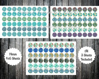 INSTANT DOWNLOAD 14mm Teal Paisley Templates (3) 4 x 6 Templates