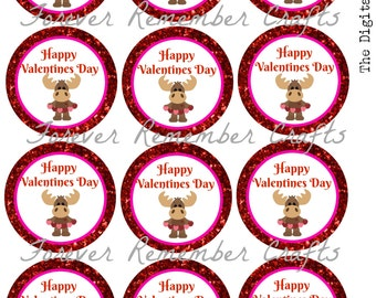 PERSONALIZED Printable Valentines Moose 2.5 Inch Circles