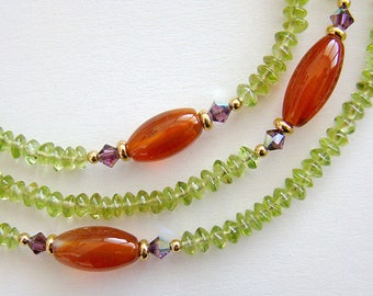 Afternoon Tea Necklace, Peridot Carnelian Long Bead Necklace, Gemstone Swarovski Crystal Long Beaded Necklace, Green Orange Bead Necklace