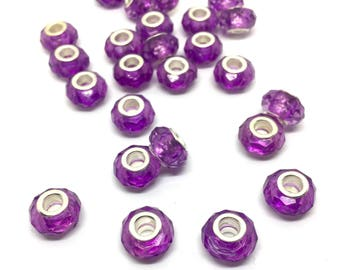 5 module beads, 10 x 6 mm, glass, facetted
