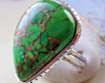 Green Turquoise Copper Ring Set in Sterling Silver 925 Size 7 Ribbed Band 6.6 Grams