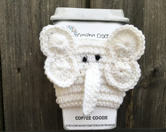 White Elephant Crocheted Coffee Sleeve Cozy. Perfect White Elephant Gift! Great Stocking Stuffer.