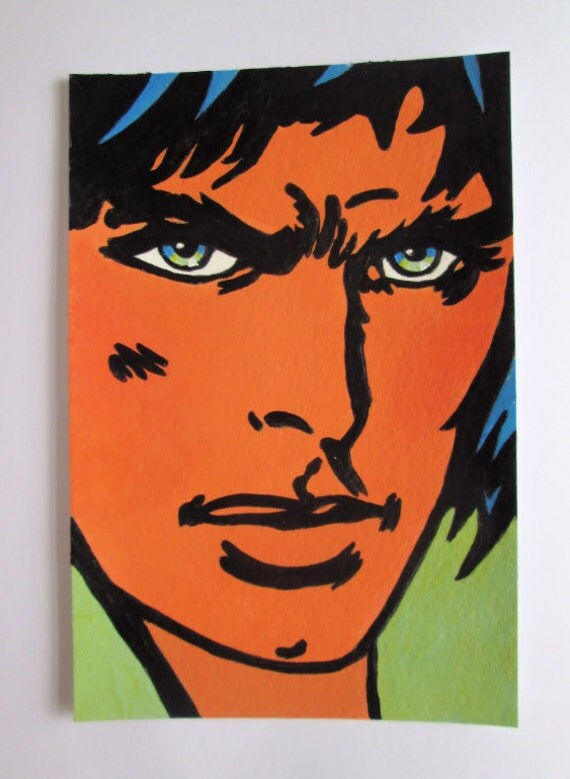 Original Acrylic Postcard size Painting Handsome  Pop Art Comic Man Male  size 6 x 4 inches
