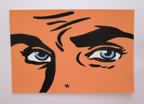 Original Acrylic Postcard size Painting Handsome  Pop Art Comic Man eyes Male  size 6 x 4 inches