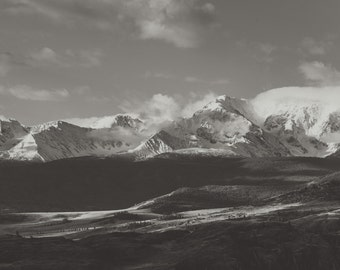 Snowy peaks. Mountains in Black and White. B&W. Fine Art Photography, Wall Decor, Large Print.