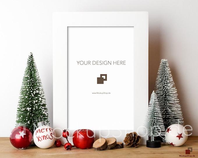 CHRISTMAS MOCKUP FRAME white / 8x12 / Frame Mockup Christmas / Merry Christmas Mockup / Merry Xmas Frame Mockup / Santa Claus Mockup