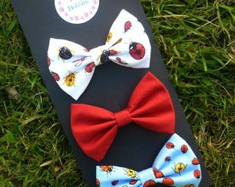 Ladybird hair bows - set of three bows - summer clips - pretty girls hairbows - girls gift - ladybird outfit - ladybirds - red hair bow -