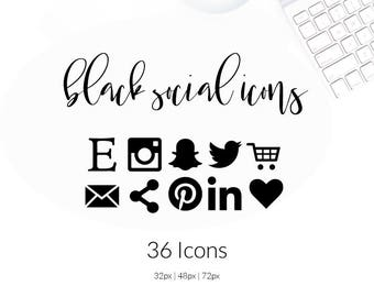 Black Social Media Icons | Social Buttons | Resume Icons
