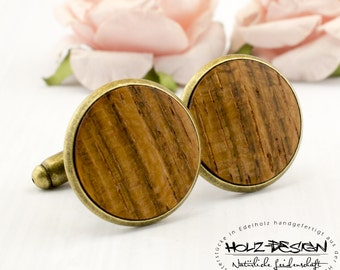 18mm Wood Cuff Links Mens Jewelry for rustic country wedding Gift for man Wood handmade