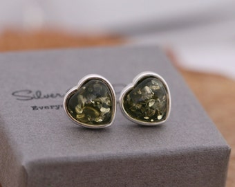Sterling Silver and Natural Amber Stud Earrings, Love Heart Shaped, Green, Comes with Gift Box