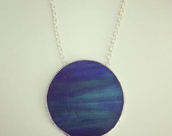Blue Green Stained Glass Necklace