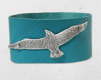 """Soaring Leather Cuff Bracelet- one of a kind on 1.25"""" wide leather cuff."""