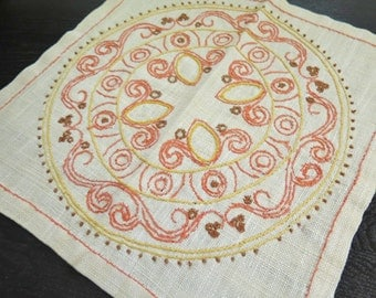 High Quality Vintage Embroidered Small Table Cloth Mandala Table Napkin, Yellow Orange  Sunny #3 01