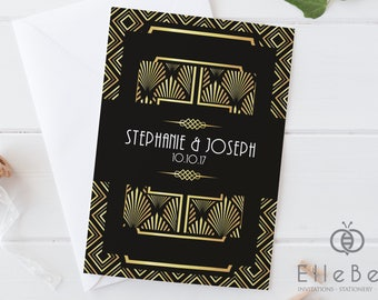 Art Deco Wedding Invitation Bundle / Art Deco Invitations / 1920s Wedding Invites / Black & Gold Wedding Invites / Earl's Court Collection