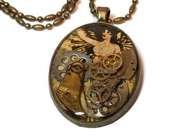 Clockpunk Watch Pendant, Steampunk Pendant with Watch Parts
