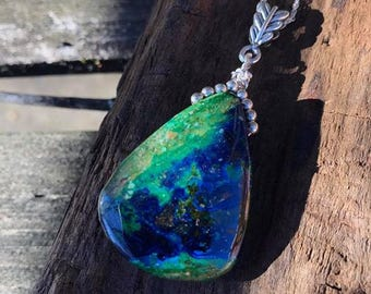 Chrysocolla Gemstone Pendant Necklace/ blue/ green/ Chrysocolla/ gemstone/ pendant/ Sterling Silver chain/ Nature beauty/ jewelry