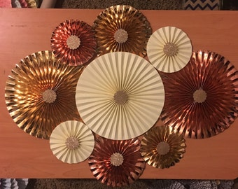 9 gold and rose gold foil cream paper rosette backdrop birthdays /baby shower / wedding/ paper fan / pinwheel / back drop