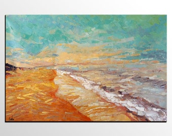 Abstract Painting, Abstract Art, Seashore Beach Oil Painting, Canvas Art, Large Wall Art, Canvas Painting, Landscape Painting, Canvas Art