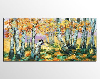 Abstract Oil Painting, Canvas Art, Original Painting, Abstract Art, Impasto Painting, Canvas Painting, Autumn Tree Painting, Landscape Art