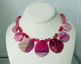 Pink Magenta Agate Necklace