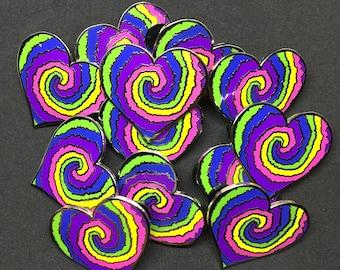 Seconds ** Tie Dye Heart lapel pin