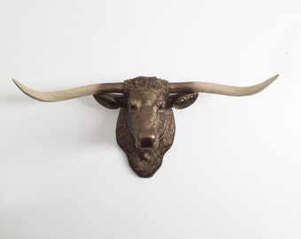 ANY COLOR Texas Longhorn Bull Sculpture Wall Trophy // Faux Taxidermy // Cow Head Mount // Farmhouse // Cattle // Ranch // Western Decor