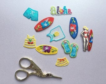 Tropical Holiday Patches Sew On Patches Iron On Patches Embroidered Applique Surfboard