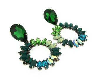 Green Crystal Chandelier Clip-On Earrings by Frangos