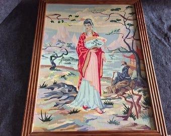 Vintage Paint-by-Number geisha girl