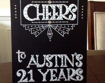 "Art Deco- Roaring Twenties- Vintage- Great Gatsby Event ""Birthday Cheers"" Hand Painted Sign"
