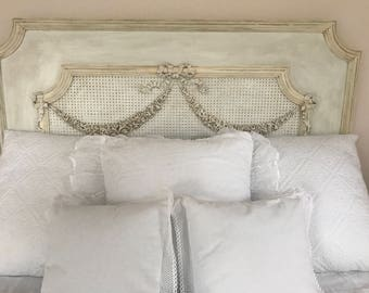 Antique French Barbola Roses Headboard Bed Queen