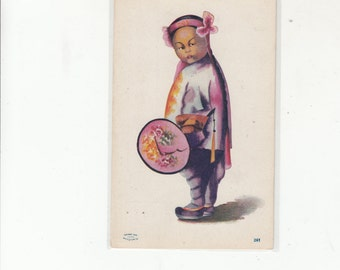 Undivided Antique Postcard-Beautiful Chinese Girl In Ethnic Apparel-Unused