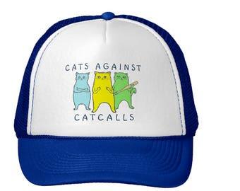 Cats Against Catcalls baseball hat, cute cat hat, anti-Trump feminist baseball hat, fight street harassment catcalling cap, blue snapback