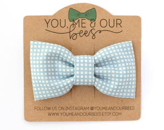 Light Blue and White Bow Tie; Light Blue Checkered Boys Bow Tie; Checkered Bow Tie; Baby Bow Tie; Clip On Bow Tie; Blue and White Bow Tie
