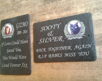 Pet Photo Memorial Slate Sign Plaque - Personalised for your loved one - Grave Marker 28cm x 18cm WORLDWIDE DELIVERY
