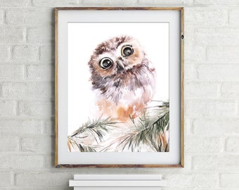Owl Fine Art Print, Watercolor Painting of Owl, Bird Painting, Cute Owl, Nursery Wall Art