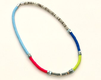 Rope Necklace,  Mixed Media Necklace, Long Colorful Fabric Necklace, Textile Statement Necklace, Color Block Necklace, Modern Jewelry