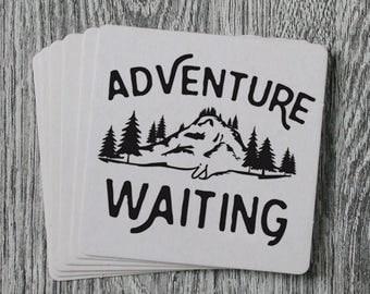 Adventure is Waiting - Handprinted Letterpress Coaster Set
