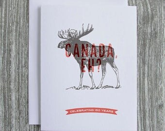 Moose Etching Canada150  - Letterpress Blank Greeting Card on 100% Cotton Paper