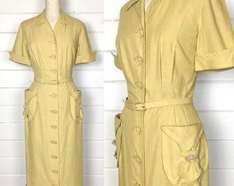 Vintage 1950s Golden Yellow Day Dress / Shirtdress / Made by Manford Casuals / Matching Belt / Beaded Pockets