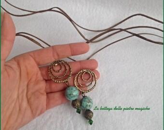 Gemstone Earrings-long earrings-bronze and turquoise earrings-gift Idea-hoop earrings-turquoise stone earrings