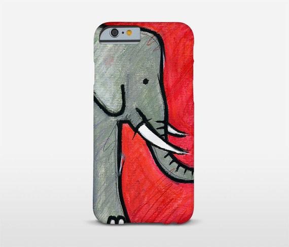 Elephant Illustration Cell Phone Case, Red Phone Cases, Animal Lover Gift, Elephant Art, iPhone Cases, Galaxy Case, Moto Cases, HTC Phone