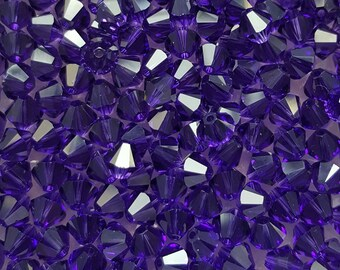 Swarovski 6mm Bicone Faceted Crystal Beads - Purple Velvet, 10, 20 or 50
