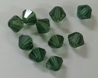 Swarovski 4mm Bicone Faceted Crystal Beads - Green Turmaline x 10 Beads