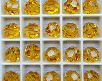 Swarovski 8mm Round (5000) Faceted Crystal Beads - SUNFLOWER - Select 6, 12 or 24 Beads