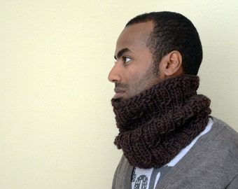 wool men scarf cowl in the photo the color is brown