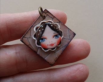 Wooden and polymer clay pendant handpainted-Wood & polymer clay pendant handmade and handpainted-25 mm-AC007